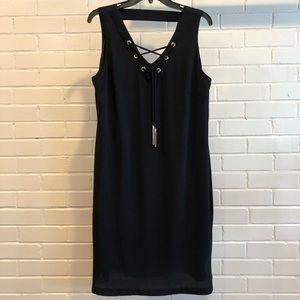 INC International Concepts Blk V-Neck Dress, Sz 10